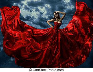 strój, wieczorny, budowla, suknia, na, przelotny, niebo, długi, falować, kobieta, artystyczny, tło, czerwony