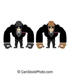 straż przyboczna, małpa, cielna, guard., goryl, czarnoskóry, zwierzę, garnitur, bouncer., silny