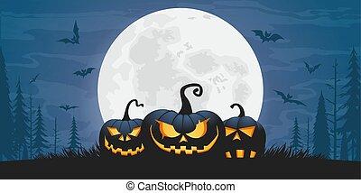straszliwy, dynie, halloween