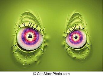 straszliwy, oczy, wektor, zielony potwór