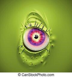 straszliwy, potwór, wektor, oko, zielony