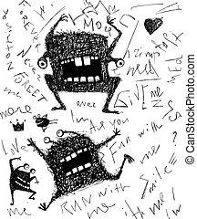 straszny, grunge, potwór, pociągnięty, litera, ręka, projektować, straszny, zabawa, monochromia