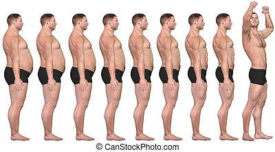 strata, ciężar, atak, powodzenie, po, 3d, tłuszcz, przed, człowiek