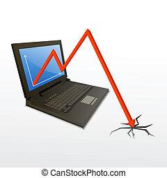 strata, komputer, wykres