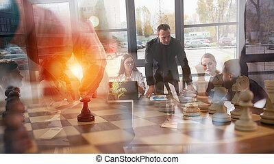 strategia, biznesmen, handlowy, szachy, game., pojęcie, tactic., gra