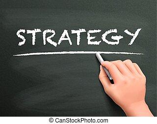 strategia, pisemny, pojęcie, ręka