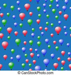 stratospheric, próbka, balony, barwny, seamless