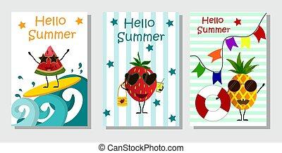strawberry., owoce, -, ananas, urlop, arbuz, lato