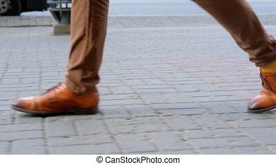 stride., ulica, zaufany, pieszy, przechadzki, na dół, szczelnie-do góry, steps., człowiek, długi
