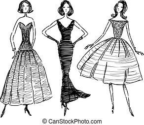 stroje, szkice, wieczorny, kobiety, elegancki