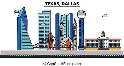 strokes., sylwetka, punkty orientacyjny, zabudowanie, skyline:, concept., krajobraz, wektor, kreska, płaski, architektura, panorama, miasto, editable, projektować, ulice, dallas., ilustracja, icons., texas