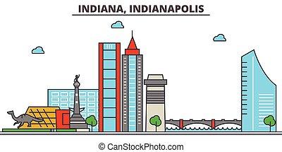 strokes., sylwetka, punkty orientacyjny, zabudowanie, skyline:, indianapolis., concept., krajobraz, indiana, wektor, kreska, płaski, architektura, panorama, miasto, editable, projektować, ulice, ilustracja, icons.