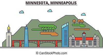 strokes., sylwetka, punkty orientacyjny, zabudowanie, skyline:, minneapolis., concept., minnesota, krajobraz, wektor, kreska, płaski, architektura, panorama, miasto, editable, projektować, ulice, ilustracja, icons.