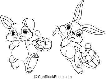 strona, krycie, królik, kolorowanie, jaja