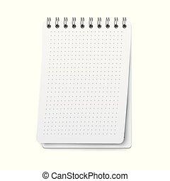 strona, listek, kropkowany, mockup, notatnik, nuta, realistyczny, książka, ruszt, opróżniać, czysty, kropka