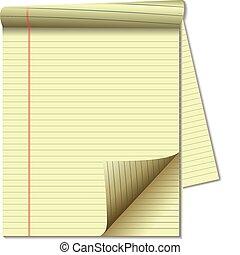 strona, papier, prawny, róg, żółta droga