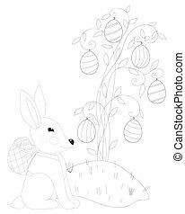 strona, wielkanocny królik, kolorowanie, podbechtywać kosz