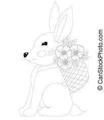 strona, wielkanocny królik, kwiat, kolorowanie, kosz