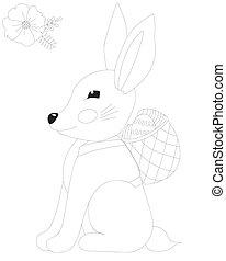 strona, wielkanocny królik, kwiat, kolorowanie, podbechtywać kosz