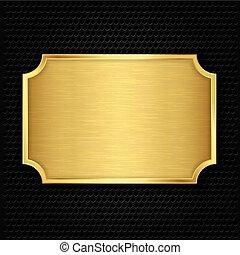 struktura, złoty, wektor, illustra, płyta
