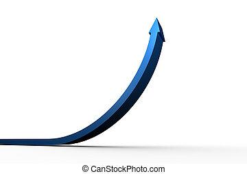 strzała, błękitny, do góry, spoinowanie