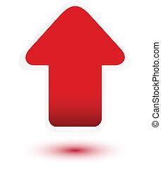 strzała, biały, do góry, czerwony