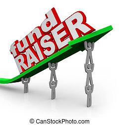 strzała, fundraiser, ludzie, hodowca funduszu, słówko, podnoszenie