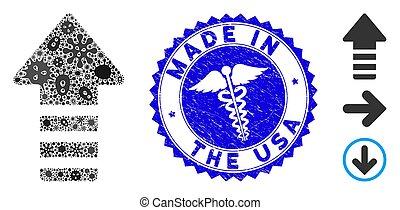 strzała, healthcare, zakażenie, collage, robiony, usa, wskazówka, tłoczyć, strapienie, ikona