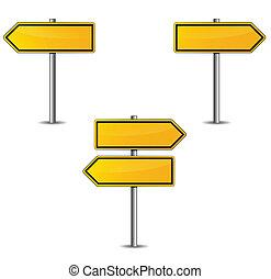 strzały, żółty znak
