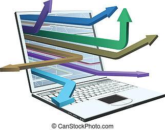 strzały, laptop, pojęcie, projektować