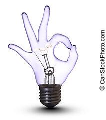 strzyżenie, ok, (with, ręka, lampa, bulwa, biały, path)