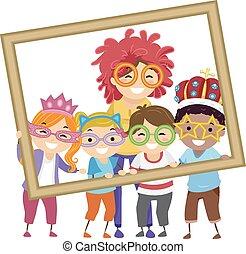 studenci, fotografia, dzieciaki, stickman, nauczyciel