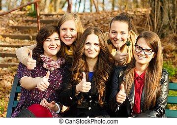 studenci, grupa, szczęśliwy