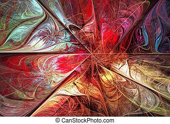 stuk, ilustracja, jesień, jasny, tło, kwiatowy, fractal