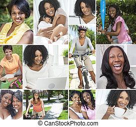 styl życia, kobiety, amerykanka, samiczy afrykanin, zdrowy