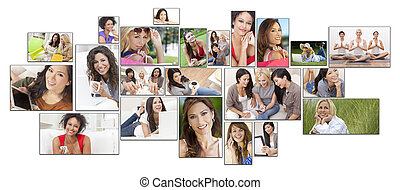 styl życia, zdrowy, montaż, prąd, samica, mieszany, kobiety