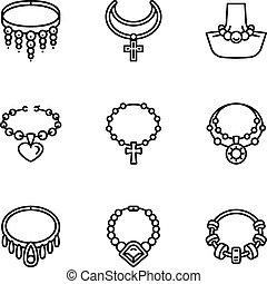 styl, biżuteria, komplet, perła, ikona, szkic