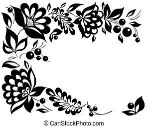 styl, biało-czarny, leaves., element, projektować, retro, kwiatowy, kwiaty