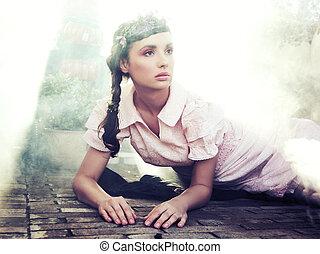 styl, brunetka, romantyk, piękno, młody, portret