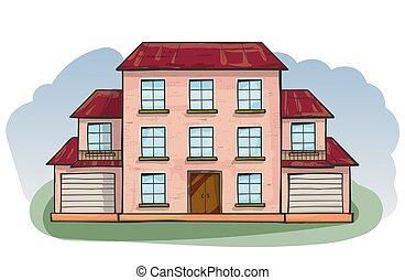 styl, dom, wektor, bazgrać, rysunek, doodle, illustration.