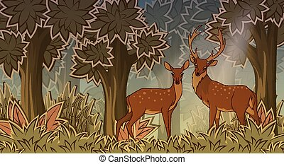 styl, dwa, rysunek, deers, las
