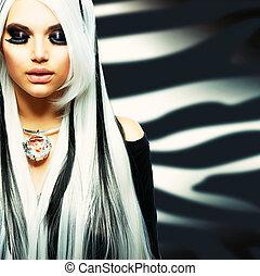 styl, dziewczyna, fason, piękno, czarnoskóry, biały