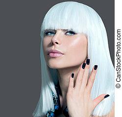styl, dziewczyna, paznokcie, włosy, czarnoskóry, portrait., biały, wzór, moda