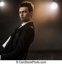 styl, fason, fotografia, elegancki, wspaniały, człowiek