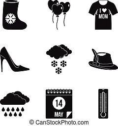 styl, fason, komplet, prosty, odzież, ikona
