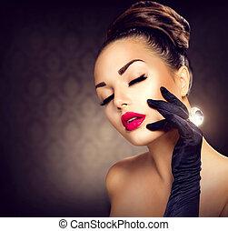 styl, fason, piękno, rocznik wina, blask, portrait., dziewczyna