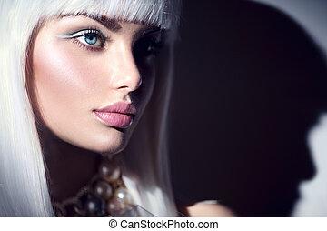 styl, fason, zima, piękno, makijaż, włosy, dziewczyna, kobieta, portrait., biały, wzór