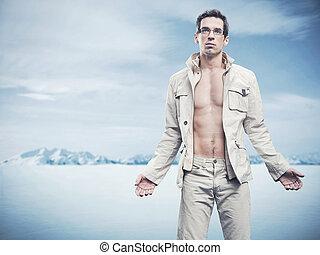 styl, fason, zima, zdejmować człowieka, przystojny