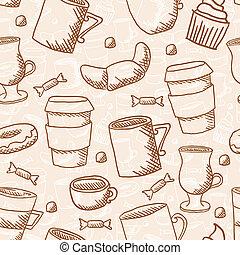 styl, frajerzy, doodle, seamless, sketchy, wektor, kawa, tło, filiżanki