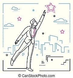 styl, gwiazda, osiąganie, -, ilustracja, projektować, biznesmen, kreska, poza
